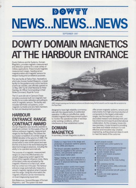 Dowty Domain Magnetics - Newsheet | Original photo in the Dowty archive at the Gloucestershire Heritage Hub