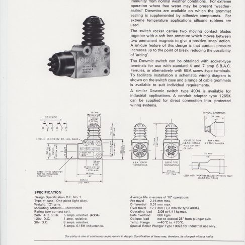 Dowty Electrics - Dowmic Limit Switch Types 1831Y and 4004 | Original photo in the Dowty archive at the Gloucestershire Heritage Hub