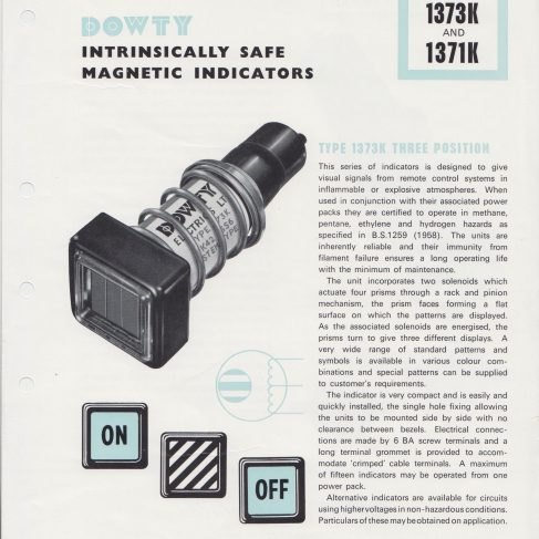 Dowty Electrics Ltd - Intrinsically Safe Magnetic Indicators | Original photo in the Dowty archive at the Gloucestershire Heritage Hub