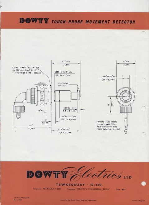 Dowty Electrics - Touch Probe Movement Detector | Original photo in the Dowty archive at the Gloucestershire Heritage Hub