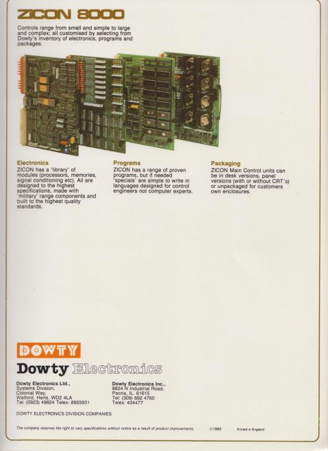 Dowty Electronics - ZiCon 8000 Microprocessor Control System | Original photo in the Dowty archive at the Gloucestershire Heritage Hub