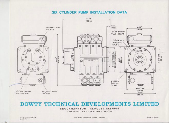 Dowty Technical Developments - Water Pumps | Original photo in the Dowty archive at the Gloucestershire Heritage Hub