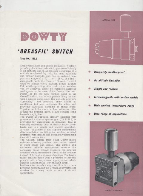 Dowty Nucleonics - Greasefil Switch | Original photo in the Dowty archive at the Gloucestershire Heritage Hub