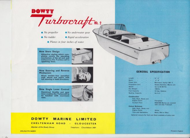 Dowty Marine - Dowty Turbocraft Mk 2 | Original photo in the Dowty archive at the Gloucestershire Heritage Hub