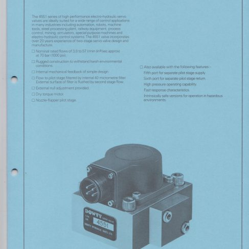 Servo Products Division - 4551 Series Servo Valve Data Sheet | Original photo in the Dowty archive at the Gloucestershire Heritage Hub