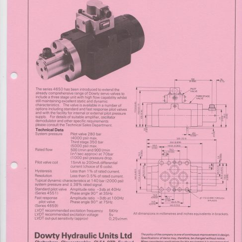 Servo Products Division - 4650 Series Three Stage Servo Valve Data Sheet | Original photo in the Dowty archive at the Gloucestershire Heritage Hub