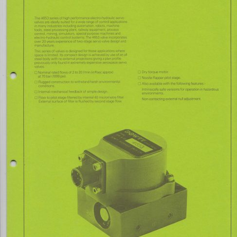 Servo Products Division - 4653 Series Miniature Servo Valve Data Sheet | Original photo in the Dowty archive at the Gloucestershire Heritage Hub