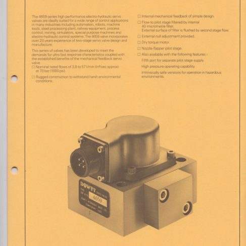 Servo Products Division - 4659 Series Fast Response Servo Valve Data Sheet | Original photo in the Dowty archive at the Gloucestershire Heritage Hub