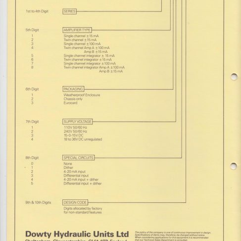 Servo Products Division - 4900 Series Servo Amplifiers Data Sheet | Original photo in the Dowty archive at the Gloucestershire Heritage Hub