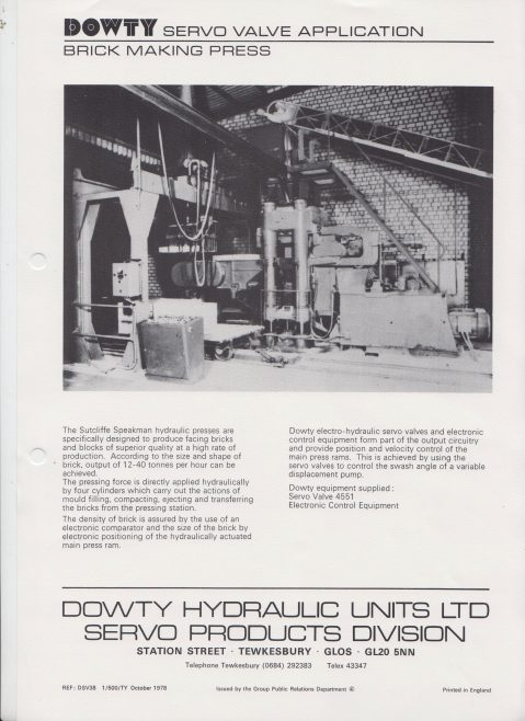 Servo Products Division - Servo Valve Application Data | Original photo in the Dowty archive at the Gloucestershire Heritage Hub