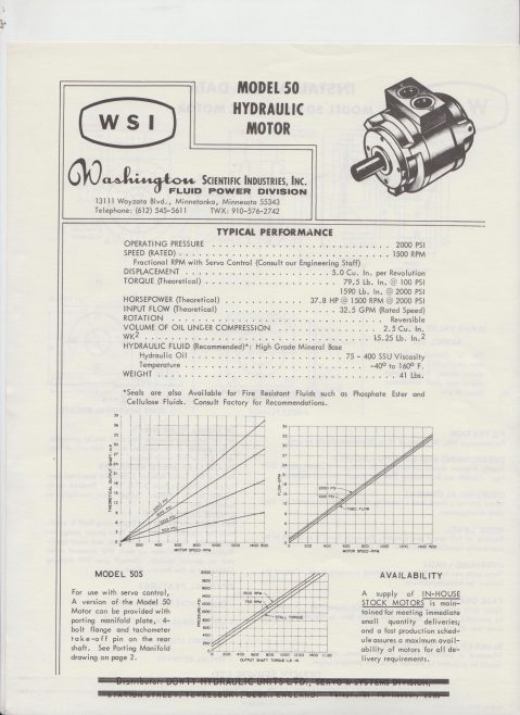 Servo Products Division - WSI Model 50 Hydraulic Motor | Original photo in the Dowty archive at the Gloucestershire Heritage Hub