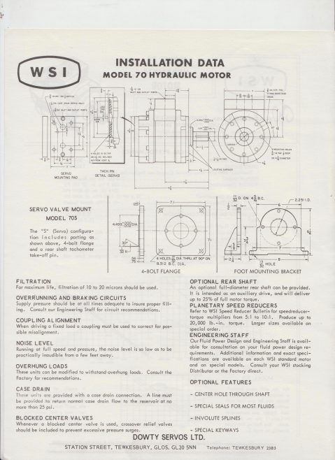 Servo Products Division - WSI Model 70 Hydraulic Motor | Original photo in the Dowty archive at the Gloucestershire Heritage Hub