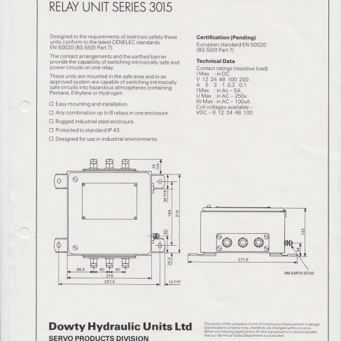 Servo Products Division - Non Intrinsically Safe Relay Unit Series 3015 | Original photo in the Dowty archive at the Gloucestershire Heritage Hub