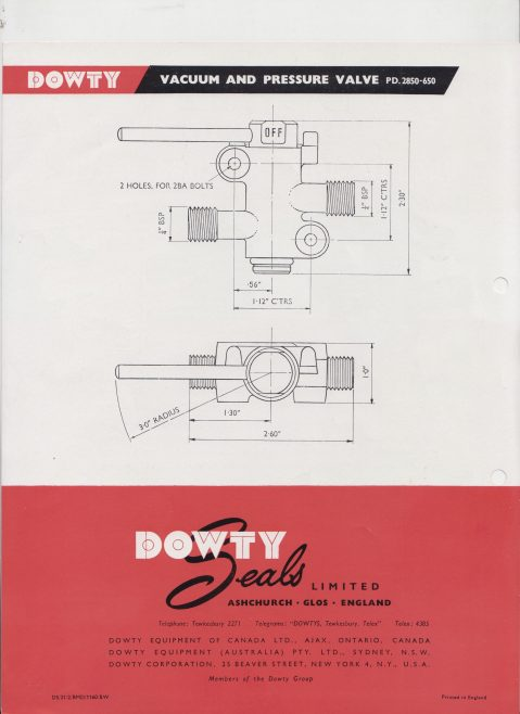 Dowty Seals - Vacuum & Pressure Valve | Original photo in the Dowty archive at the Gloucestershire Heritage Hub