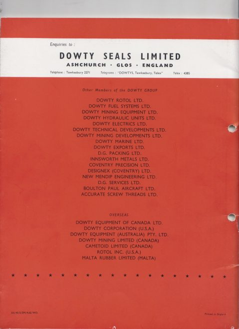 Dowty Seals - O Ring Seals Export Brochure | Original photo in the Dowty archive at the Gloucestershire Heritage Hub