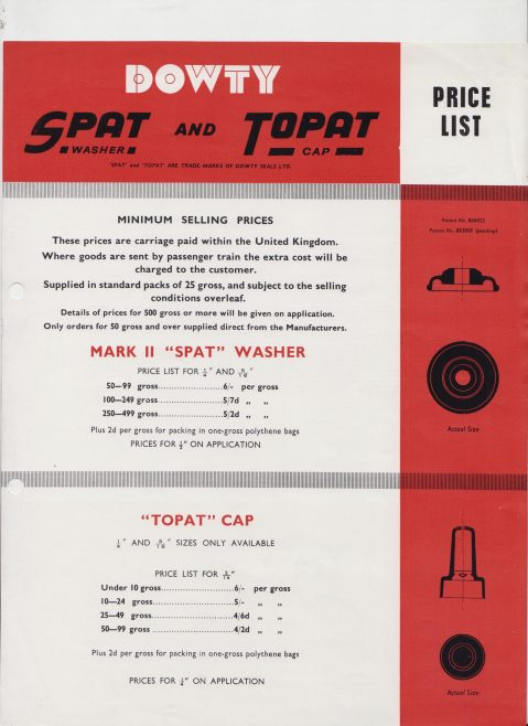 Dowty Seals - Spat Washers and Topat Cap Price List | Original photo in the Dowty archive at the Gloucestershire Heritage Hub