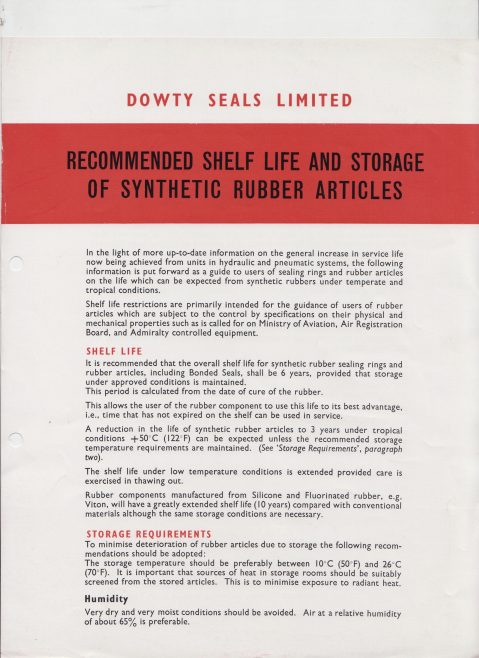 Dowty Seals - Recommended Shelf Life & Storage of Synthetic Rubber Articles | Original photo in the Dowty archive at the Gloucestershire Heritage Hub