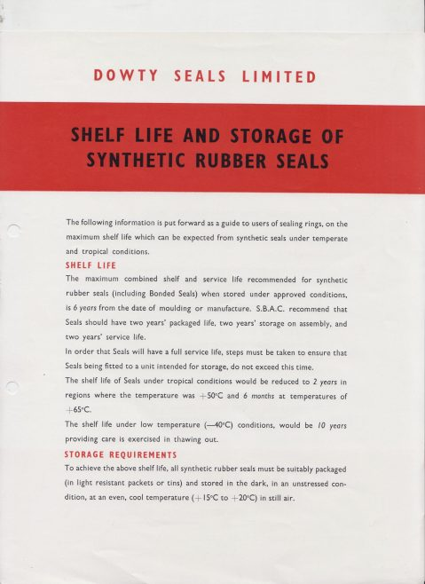 Dowty Seals - Shelf Life & Storage of Synthetic Rubber Seals | Original photo in the Dowty archive at the Gloucestershire Heritage Hub