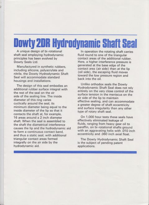 Dowty Seals - 2DR Hydrodynamic Shaft Seal | Original photo in the Dowty archive at the Gloucestershire Heritage Hub