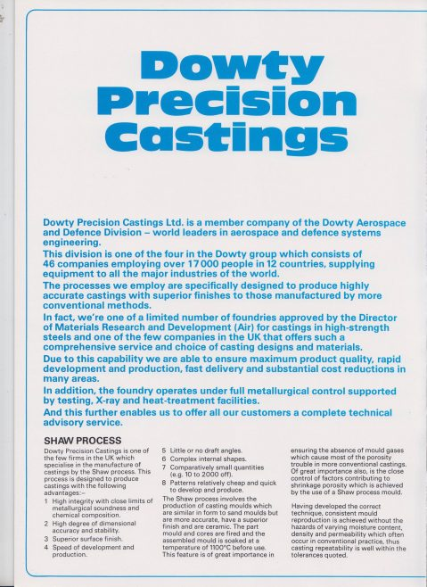 Dowty Precision Castings - Company Profile   Original photo in the Dowty archive at the Gloucestershire Heritage Hub