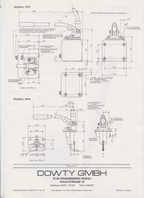 Dowty Hydraulic Units GmbH - Hydraulic Handpump M1 & MP2 Data Sheet | Original photo in the Dowty archive at the Gloucestershire Heritage Hub