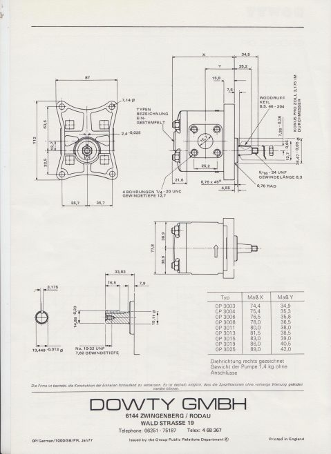 Dowty Hydraulic Units GmbH - Hydraulic Handpump P3000 Grosse 0P Data Sheet | Original photo in the Dowty archive at the Gloucestershire Heritage Hub