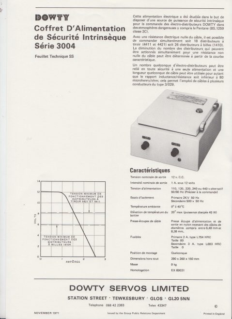Dowty Servos - Product Information Sheets in French | Original photo in the Dowty archive at the Gloucestershire Heritage Hub