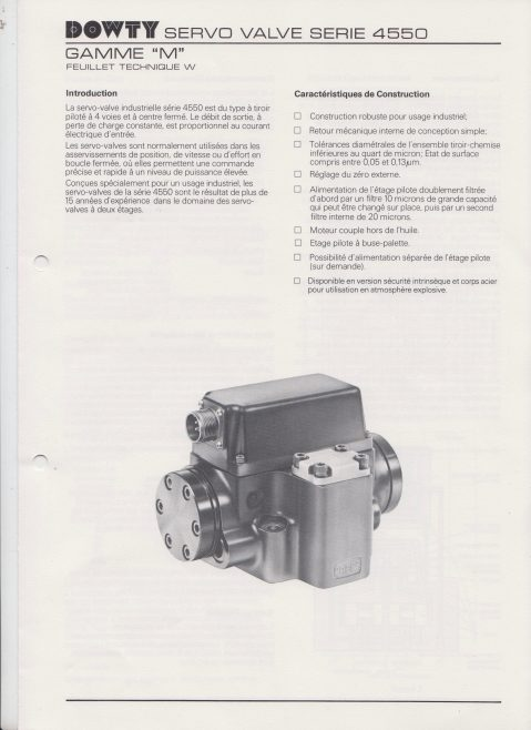 Dowty Servos - Servo Valve Series 4550 Data Sheet in French | Original photo in the Dowty archive at the Gloucestershire Heritage Hub