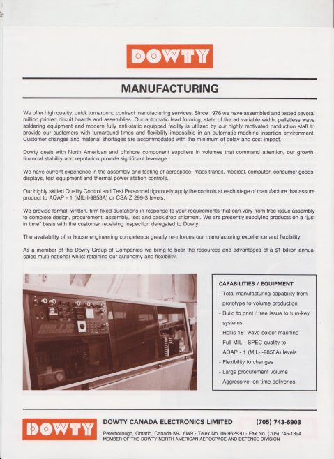 Dowty Canada Electronics - Manufacturing | Original photo in the Dowty archive at the Gloucestershire Heritage Hub