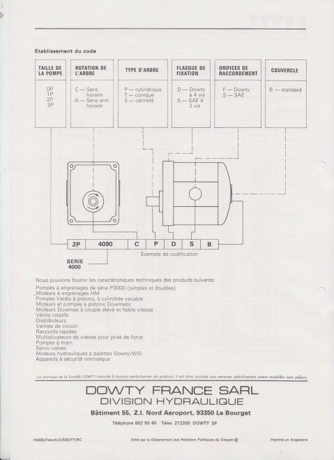Dowty Servos - Hydraulic Handpump P4000 Data Sheet in French | Original photo in the Dowty archive at the Gloucestershire Heritage Hub