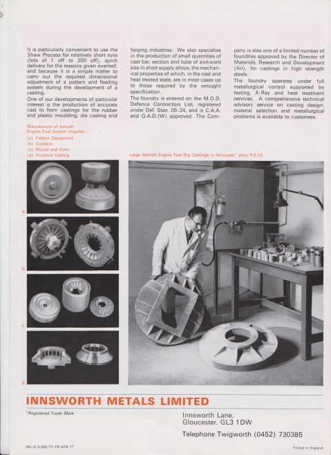 Innsworth Metals - Specialists in Shaw Process Casting   Original photo in the Dowty archive at the Gloucestershire Heritage Hub