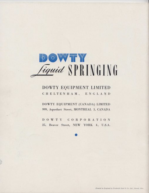 Dowty Equipment - Liquid Spring Undercarriages | Original photo in the Dowty archive at the Gloucestershire Heritage Hub