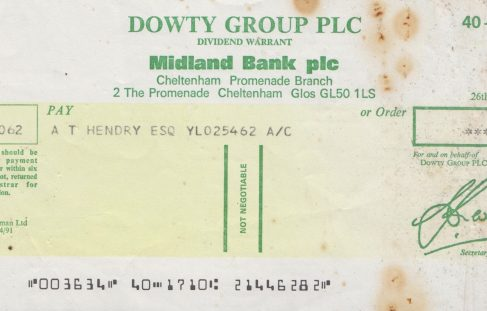 Dowty Cheque for £0.04