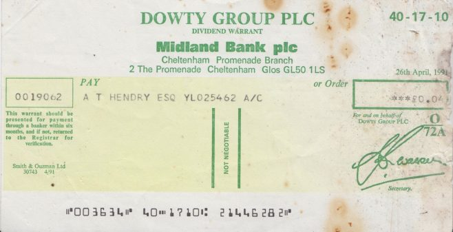 Dowty Cheque of £0.04... | Alan Hendry