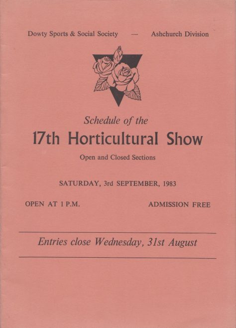 Dowty Ashchurch - 17th Horticultural Show Saturday 3rd September 1983 | Alan Hendry