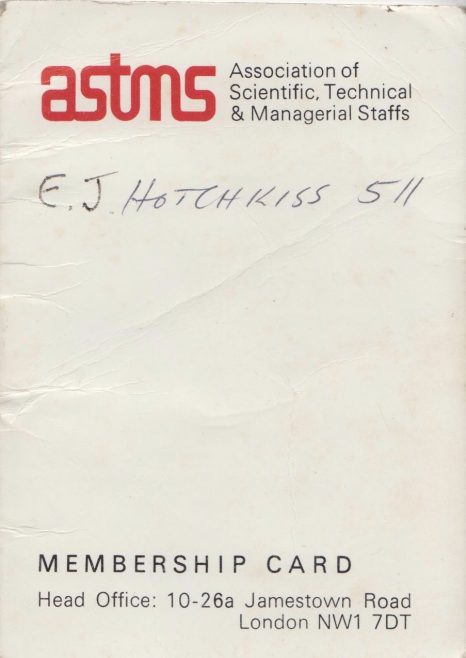 ASTMS Union Card belonging to Ted Hotchkiss of Dowty Mining Equipment | Thanks to Sue Daly