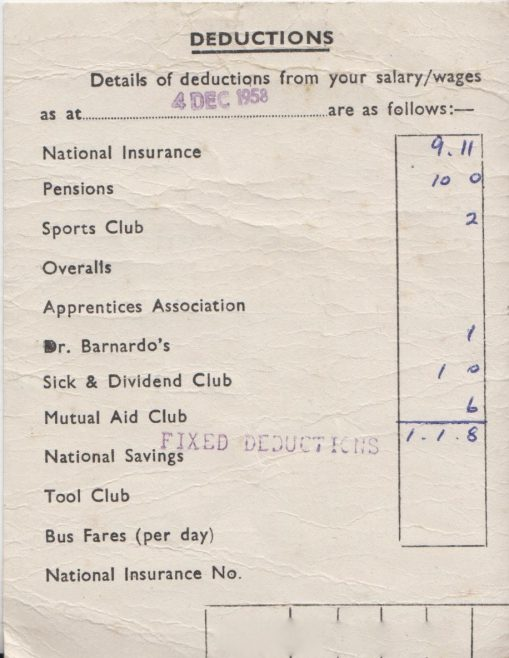 Dowty Mining Equipment - Ted Hotchkiss Salary Information (Dec 1958) | Thanks to Sue Daly
