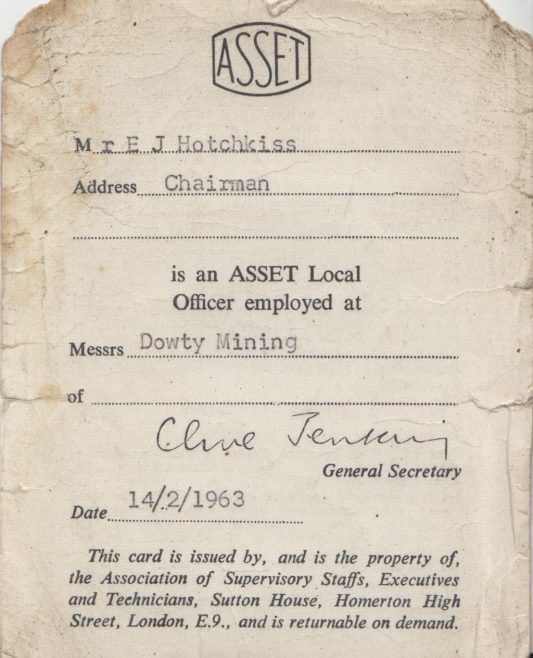 ASSET Union Card belonging to Ted Hotchkiss of Dowty Mining Equipment | Thanks to Sue Daly