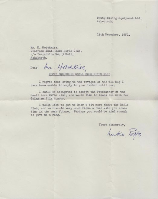 Dowty Rifle Club Ashchurch - Letter to Ted Hotchkiss of Dowty Mining Equipment | Thanks to Sue Daly