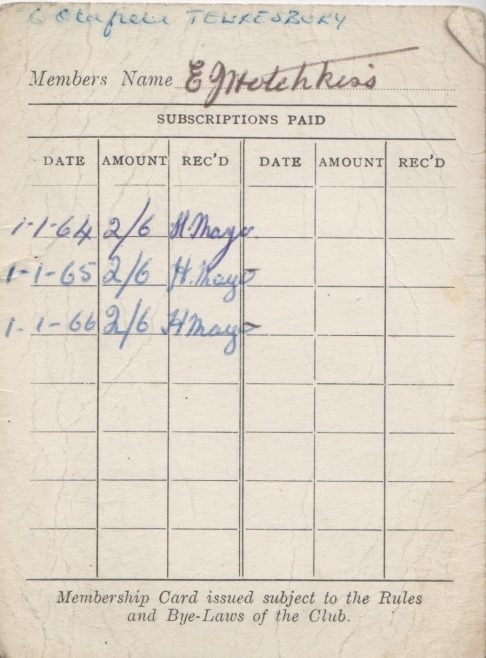 Dowty Rifle Club Ashchurch - Membership Card belonging to Ted Hotchkiss of Dowty Mining Equipment | Thanks to Sue Daly