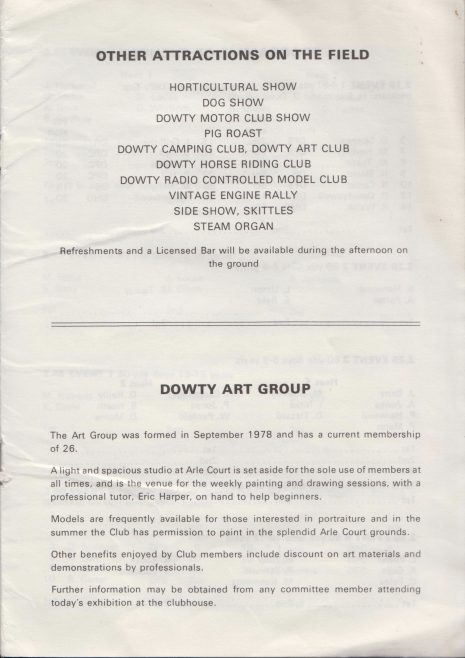 Dowty Sports & Social - Annual Sports Horticultural Show and Gala Day Saturday 16th July 1982 at Arle Court | Alan Welland