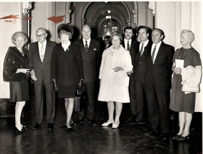 Dowty Group Annual Apprentices Prizegiving - Nov 1970. Sir George & Lady Dowty; Renee Short MP; Sir Robert Hunt and his wife; David Walker, Chairman Apprentice Association; Ken Browning; E N Thurston and Miss Truman | David John Walker