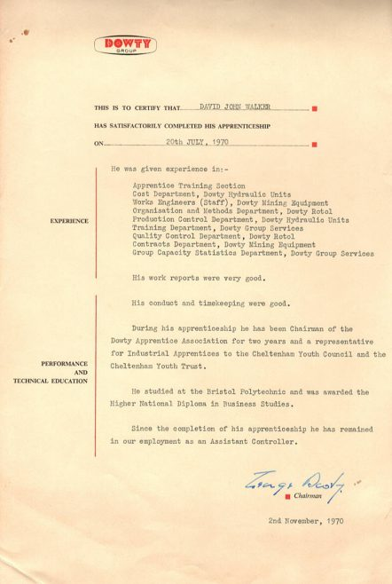 David John Walker 1970 - Apprentice Completion Certificate | David John Walker