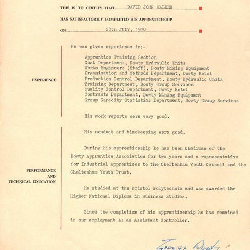 David John Walker 1970 - Apprentice Completion Certificate | David John Walker