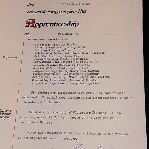 Douglas (Ron) Brown 1971 - Apprentice Completion Certificate | Ron Brown