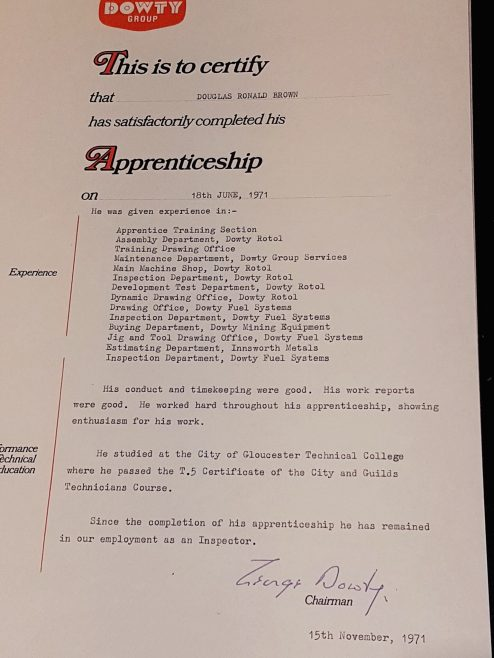 Douglas (Ron) Brown 1971 - Apprentice Completion Certificate | Ron Brown
