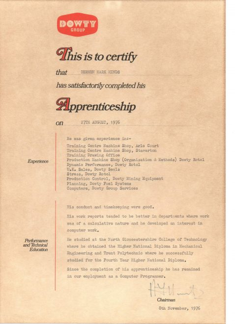 Devren Hinds 1976 - Apprentice Completion Certificate  | Devren Hinds