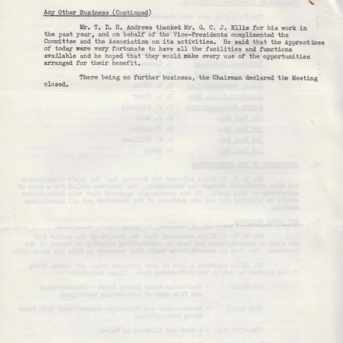 Dowty Apprentice Association - Memo regarding Dowty Apprentice AGM 1966 | Original photo in the Dowty archive at the Gloucestershire Heritage Hub