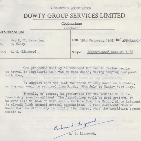 Dowty Apprentice Association - Memo regarding Dowty Apprentice Association trip to Yugoslavia 1966 | Original photo in the Dowty archive at the Gloucestershire Heritage Hub