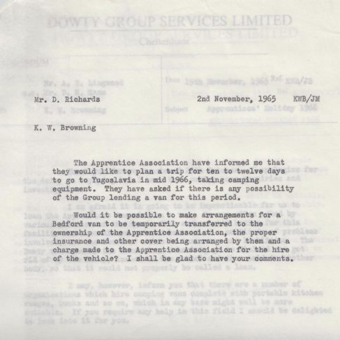 Dowty Apprentice Association - Memo regarding Dowty Apprentice Association trip to Yugoslavia 1965 | Original photo in the Dowty archive at the Gloucestershire Heritage Hub